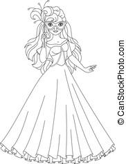 principessa, mascherata, coloritura, pagina