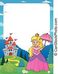 principessa, ombrello, 1, tema, cornice