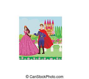 principessa, principe, giardino, bello