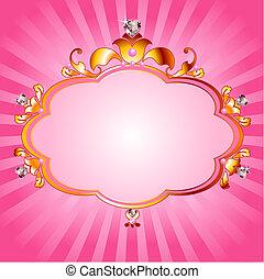 principessa, rosa, cornice