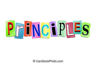 Principles concept. - Illustration depicting a set of cut...
