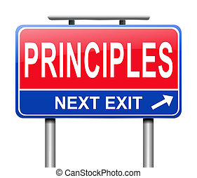 Principles concept. - Illustration depicting a sign with a ...