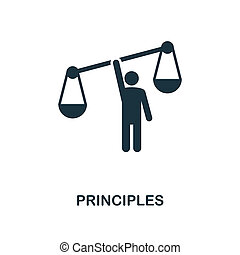 Principles icon. Monochrome style design from business ethics icon collection. UI and UX. Pixel perfect principles icon. For web design, apps, software, print usage.