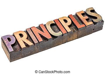 principles word in vintage wood type - principles word ...