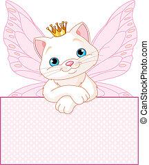 prinsesje, op, leeg, kat, meldingsbord