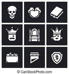 prinsesje, sentinel., gehucht, koninkrijk, stuk, liefde, set, icons., troon, vector, schat, tragedie, dood