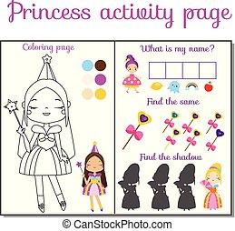prinsesje, thema, activiteit, pagina, voor, kids., onderwijs, kinderen, spel, set
