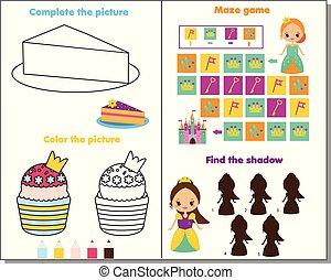 prinsesje, thema, activiteit, pagina, voor, kids., onderwijs, spel, set