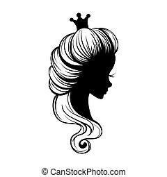 prinsesje, verticaal, silhouette