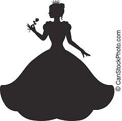 prinsessa, klänning, magnifik