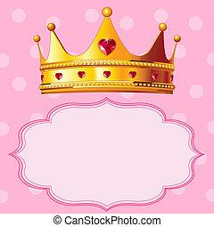 prinsesse, bekranse, på, lyserød baggrund