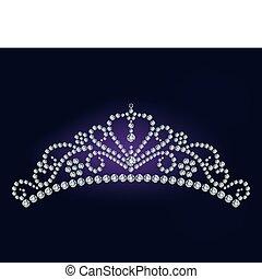 prinsessenkroon, diamant, vector, -, illustratie