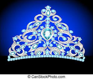 prinsessenkroon, kroon, vrouwen, trouwfeest, met, een, blauw stenig
