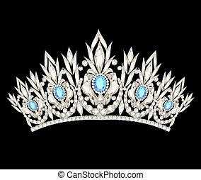 prinsessenkroon, kroon, vrouwen, trouwfeest, met, een, ontsteken blauw, stenen