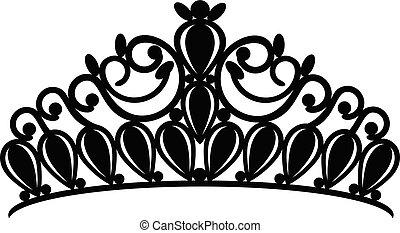 prinsessenkroon, kroon, vrouwen, trouwfeest, met, stenen