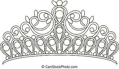 prinsessenkroon, kroon, vrouwen, trouwfeest, met, stenen, tekening