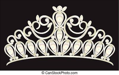prinsessenkroon, kroon, vrouwen, trouwfeest, met, wite stenen