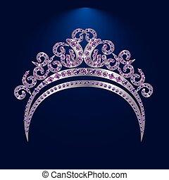 prinsessenkroon, met, stenen, en, ruiten