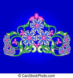 prinsessenkroon, vrouwen, trouwfeest, met, kostbare stenen, op, een, blauwe