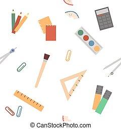 print., カラフルである, 白, 供給, バックグラウンド。, seamless, 平ら, 分散させる, 背中, スタイル, パターン, 包むこと, ∥あるいは∥, ベクトル, 学校, 文房具, 教育, 壁紙, 生地, イラスト, ペーパー