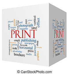 Print 3D cube Word Cloud Concept