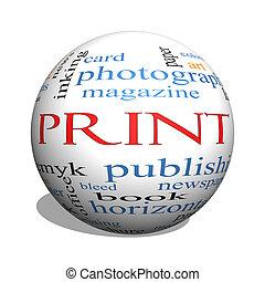 Print 3D sphere Word Cloud Concept
