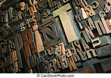 Background of vintage wooden letter cases with the word print