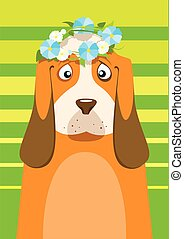 Print Basset hound with flower wreath on head over green background