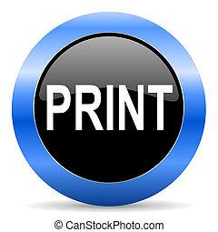 print blue glossy icon