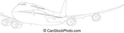 Print - boeing 747 airplane in flight
