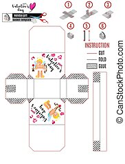 print box template with cupid and arrows