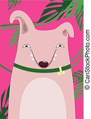 Print Bull Terrier in green leaves on a pink background