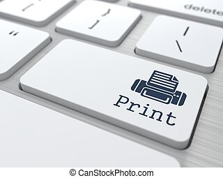 """Print"" Button. - Gray Button ""Print"" on Modern Computer..."