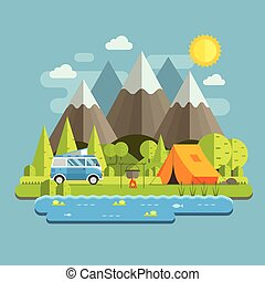 Print - Campsite place in mountain lake area. Forest camping...