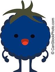 Print cartoon doodle summer color set citrus fruit flat blackberry monster happy