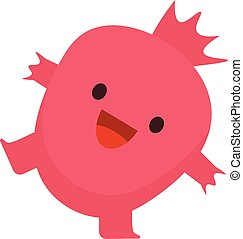 Print cartoon doodle summer color set citrus fruit flat garnet monster happy