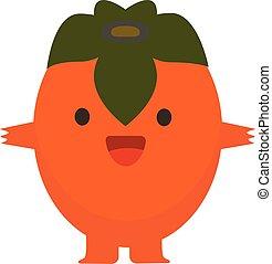 Print cartoon doodle summer color set citrus fruit flat persimmon happy monster