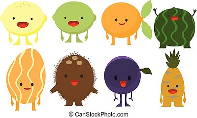 Print cartoon doodle summer color set citrus fruit flat