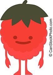 Print cartoon doodle summer color set citrus fruit flat raspberries monster happy