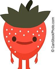 Print cartoon doodle summer color set citrus fruit flat Strawberry monster happy