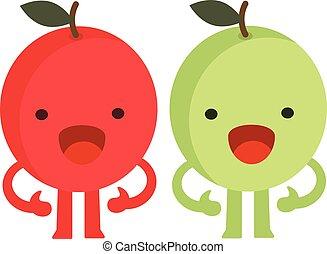 Print cartoon doodles summer color set citrus fruit flat apples monster happy