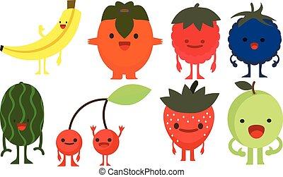 Print cartoon doodles summer color set citrus fruit flat berries monster