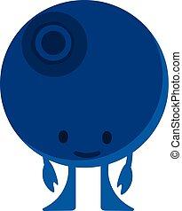 Print cartoon doodles summer color set citrus fruit flat blueberries monster happy