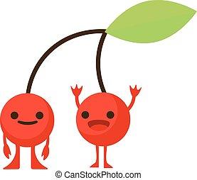 Print cartoon doodles summer color set citrus fruit flat cherry monster happy