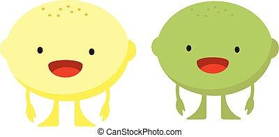 Print cartoon doodles summer color set citrus fruit flat lime lemon monster
