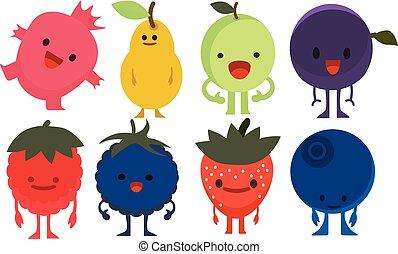 Print cartoon doodles summer color set citrus fruit flat monster berries