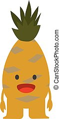 Print cartoon doodles summer color set citrus fruit flat pineapple monster happy