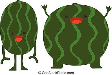 Print cartoon doodles summer color set citrus fruit flat watermelon monsters happy