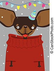 Print Christmas Toy Terrier in a sweater in the snow