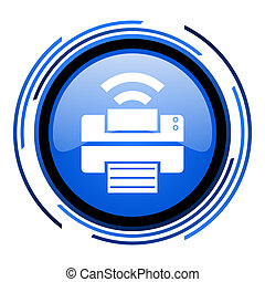 print circle blue glossy icon